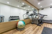 大きな鏡の壁がある部屋に、ランニングマシーンとカラフルなバランスボールがある。